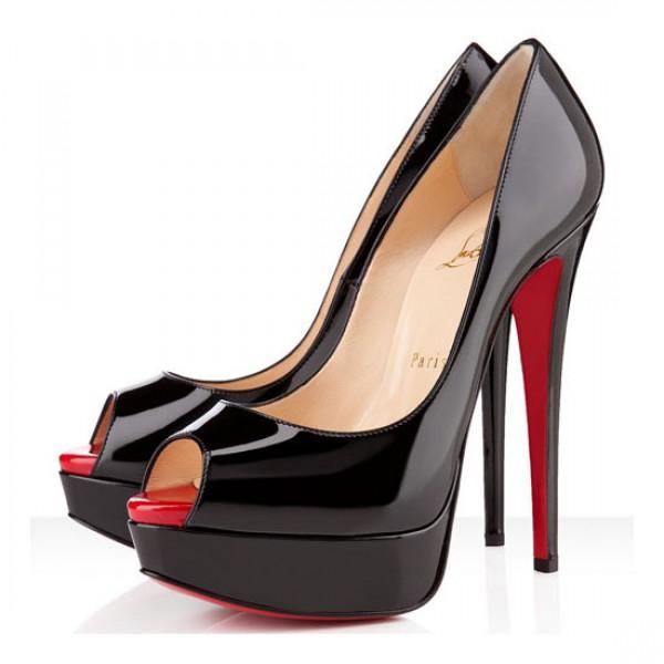 Christian Louboutin Lady Peep 150mm Patent Pumps Black/Red