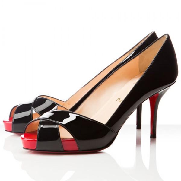 Christian Louboutin Shelley 90mm Peep Toe Pumps Black/Red