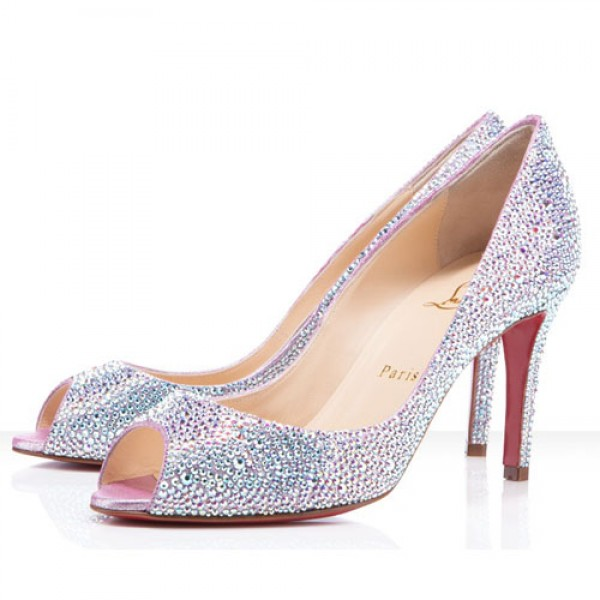Christian Louboutin You You 85mm Strass Peep Toe White