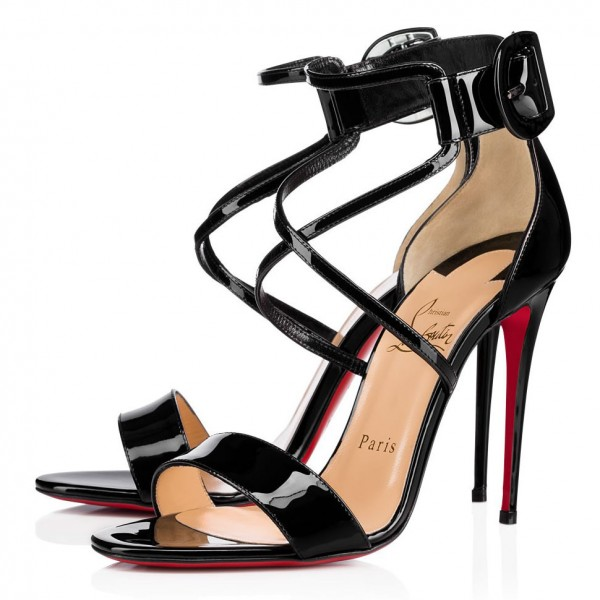 Christian Louboutin Choca 100mm Patent Sandals Black