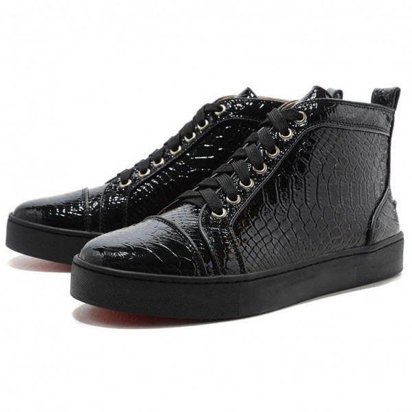 Men's Christian Louboutin Louis High Top Sneakers Black