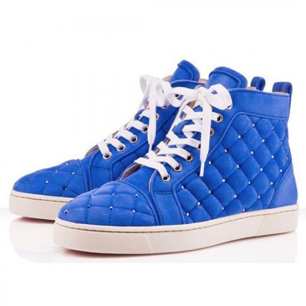 Men's Christian Louboutin Louis Matelasse Sneakers Blue