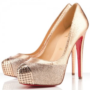 Christian Louboutin Maggie 140mm Glitter/Watersnake Pumps Nude/Gold
