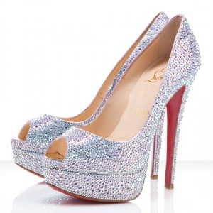 Christian Louboutin Lady Peep 150mm Strass Pumps White Diamond