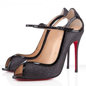 Christian Louboutin 1EN8 100mm Glitter Peep Toe Pumps Black