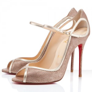 Christian Louboutin 1EN8 100mm Glitter Peep Toe Pumps Beige