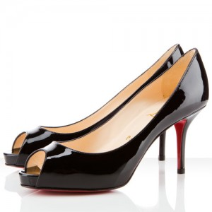 Christian Louboutin Mater Claude 85mm Patent Peep Toe Pumps Black