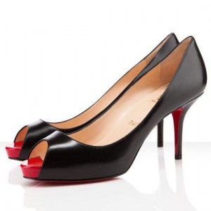 Christian Louboutin Mater Claude 85mm Peep Toe Pumps Black/Red