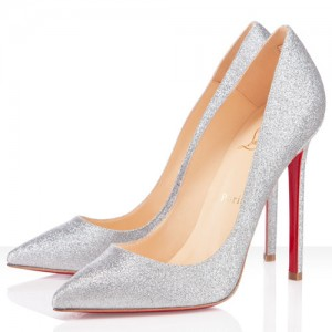 Christian Louboutin Pigalle 120mm Glitter Pumps Silver
