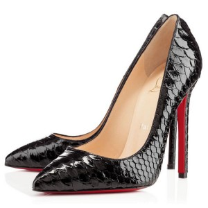 Christian Louboutin Pigalle 120mm Python Pumps Black