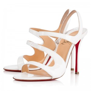 Christian Louboutin Vavazou 100mm Patent Sandals Latte