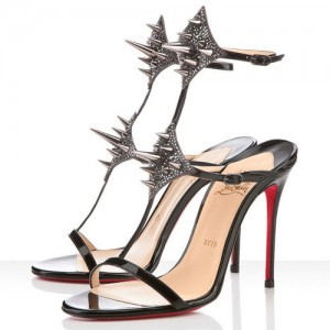 Christian Louboutin Lady Max 100mm Patent Sandals Black