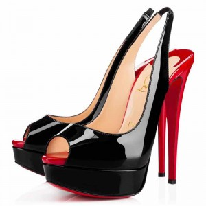 Christian Louboutin Lady Peep Sling 150mm Slingbacks Black/Red