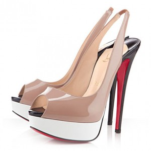 Christian Louboutin Lady Peep Sling 150mm Slingbacks Nude/White