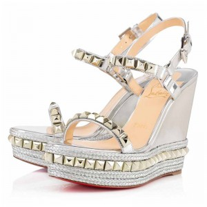 Christian Louboutin Cataclou 110mm Leather Wedges Silver