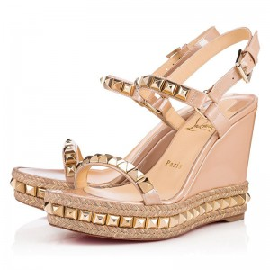Christian Louboutin Cataclou 110mm Patent Wedges Nude