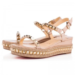 Christian Louboutin Cataclou 60mm Patent Wedges Nude