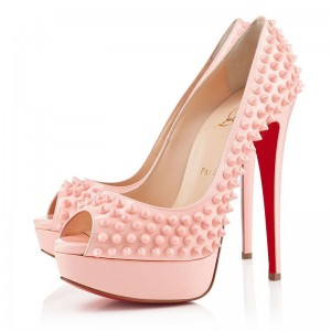 Christian Louboutin Lady Peep Spikes 150mm Pumps Baby Pink