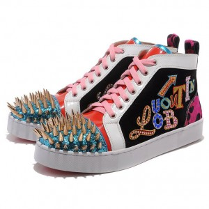 Men's Christian Louboutin Louis Gold Spikes High Top Sneakers Multicolor