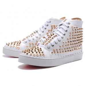 Men's Christian Louboutin Louis Gold Spikes High Top Sneakers White
