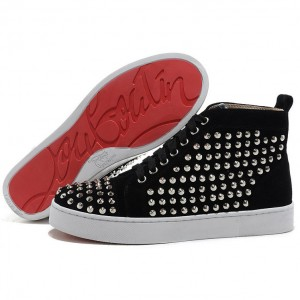 Men's Christian Louboutin Louis Silver Spikes High Top Sneakers Black