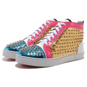 Men's Christian Louboutin Louis Spikes High Top Sneakers Golden/Blue