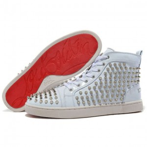 Men's Christian Louboutin Louis Spikes High Top Sneakers White