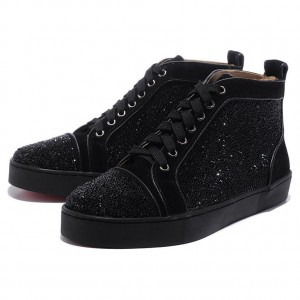 Men's Christian Louboutin Louis Strass High Top Sneakers Black