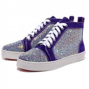 Men's Christian Louboutin Louis Strass High Top Sneakers Parme