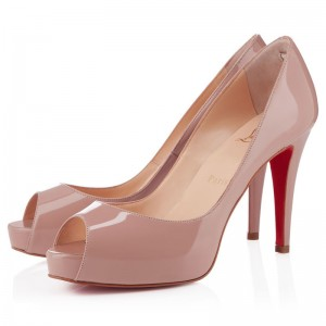 Christian Louboutin Mater Claude 85mm Patent Peep Toe Pumps Nude