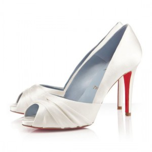 Christian Louboutin Matrinana 100mm Satin Off White