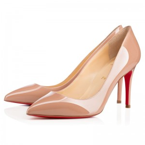 Christian Louboutin Pigalle 85 Patent Pumps Nude