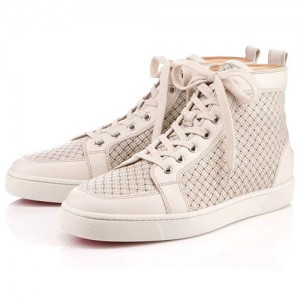 Men's Christian Louboutin Rantulow High Top Sneakers White