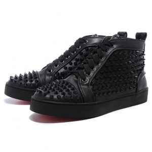 Men's Christian Louboutin Spikes Leather Sneakers Black