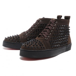 Men's Christian Louboutin Spikes Suede Sneakers Chocolate