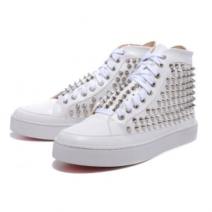 Men's Christian Louboutin Spikes Patent Sneakers White