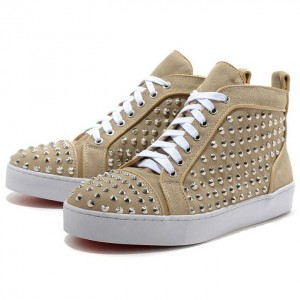 Men's Christian Louboutin Flat Suede Sneakers Beige