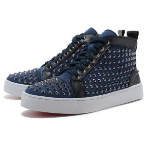 Men's Christian Louboutin Flat Canvas Sneakers Blue
