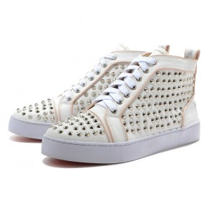 Men's Christian Louboutin Flat Leather Sneakers White