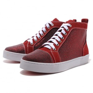 Men's Christian Louboutin Glitter Nubuck High Top Sneakers Red