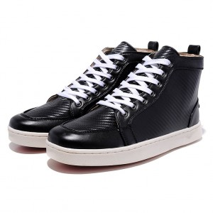 Men's Christian Louboutin High-Top Logo Printed Leather Black