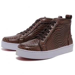 Men's Christian Louboutin Louis Flat Python Sneakers Chocolate
