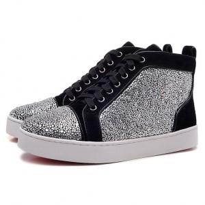 Men's Christian Louboutin Glitter Nubuck High Top Sneakers Black/Silver