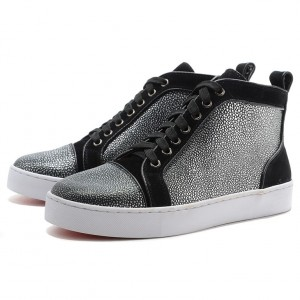 Men's Christian Louboutin Glitter Nubuck High Top Sneakers Black/Gray