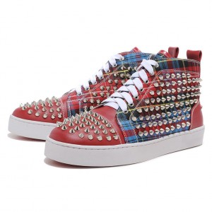 Men's Christian Louboutin Spikes Leather Canvas Sneakers Red