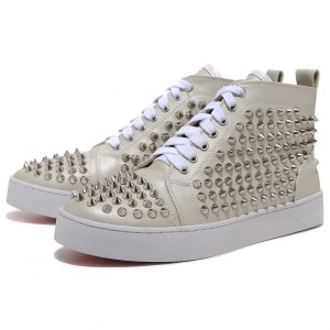 Men's Christian Louboutin Spikes High Top Sneakers Beige