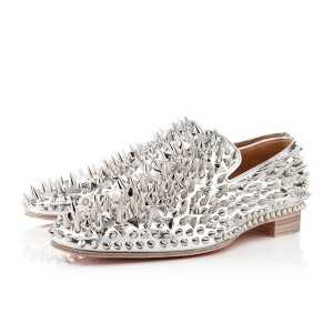 Men's Christian Louboutin Dandy Pik Pik Loafers Silver