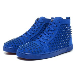 Men's Christian Louboutin Louis Hign Top Sneakers Blue