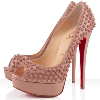Christian Louboutin Lady Peep Spikes 150mm Pumps Nude