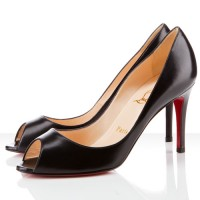 Christian Louboutin You You 85mm Leather Peep Toe Black
